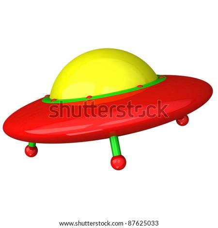 Colorful UFO icon 3d - stock photo