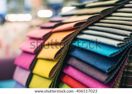 Colorful upholstery fabric samples - stock photo