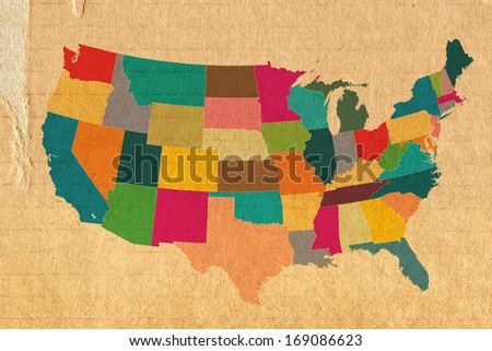 colorful USA map on carton background - stock photo