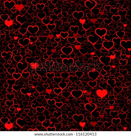 Colorful Valentine's day background with hearts, vector - stock photo