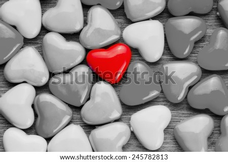 Colorful Valentines Day background with hearts. - stock photo