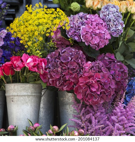 Colorful variety of flowers sold in the market in London. - stock photo