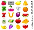 Colorful vector set of slot machine icons - stock photo