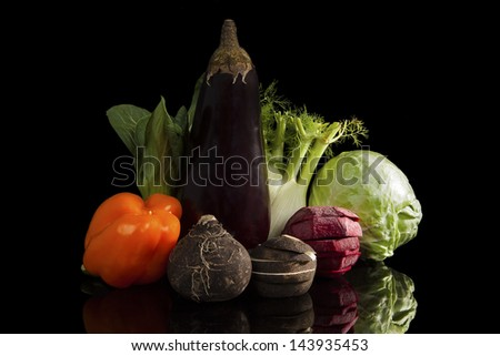Colorful vegetable variation. Luxurious healthy eating still life. Beet, cabbage, fennel, chinese cabbage, capsicum, black radish and eggplant isolated on black. Culinary eating background. - stock photo