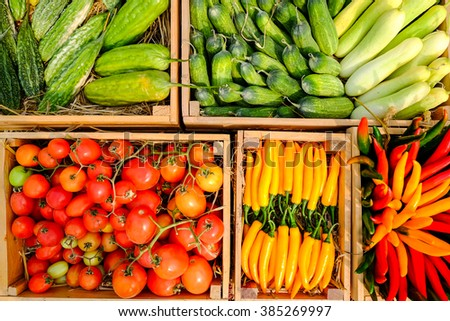 Colorful  vegetables background at market - stock photo