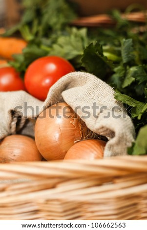 Colorful vegetables in basket - stock photo