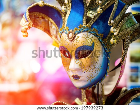 Colorful Venetian carnival mask for sale - stock photo