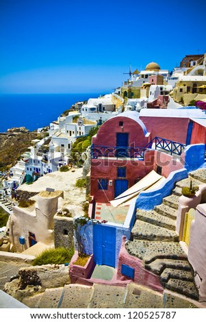 Colorful village of Oia at Santorini island in Greece - stock photo