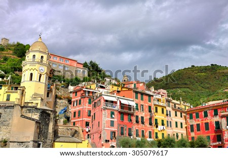 Colorful village of the five land - Vernazza - Italy - stock photo