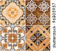 Colorful vintage ceramic tiles wall decoration. - stock photo