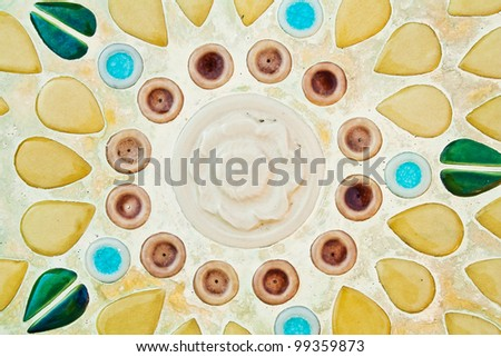 Colorful vintage ceramic tiles wall decoration - stock photo