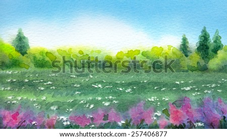 "Colorful vivid watercolor on paper backdrop with space for text. Series ""Different seasons"". White cumulus clouds in blue sky over bluish valley with wildflowers and lush thickets with firs on horizon - stock photo"
