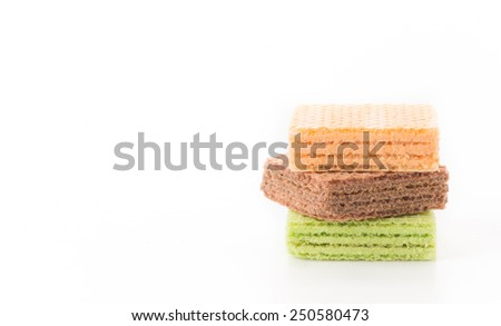 colorful wafer on white background - stock photo
