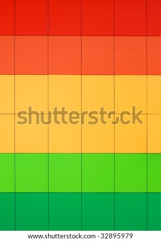 Colorful wall. Front view of color boards. Abstract geometrical background - stock photo