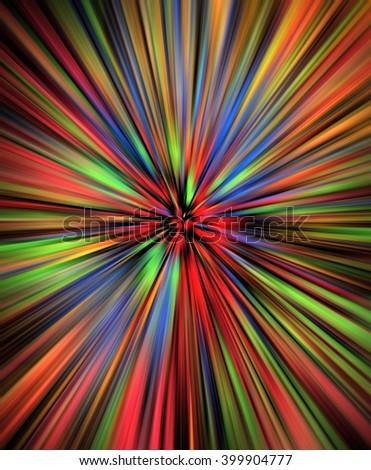 Colorful watercolor burst on black background - stock photo