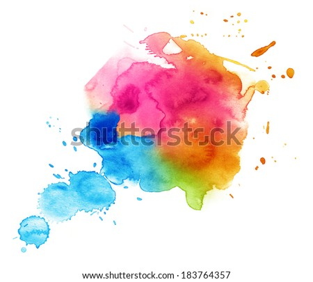 Colorful watercolor drop on a white background. - stock photo