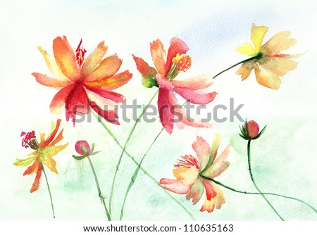 Colorful watercolor illustration with beautiful flowers - stock photo