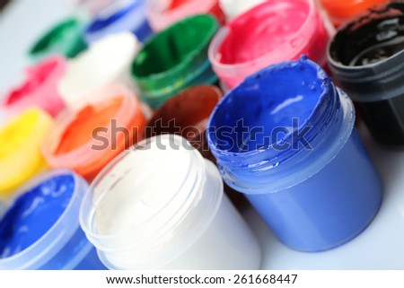Colorful watercolor on white background, closeup view - stock photo