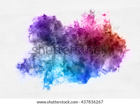 Colorful watercolor paint banner with random brushstrokes as a central band over textured white paper with copy space for a design template - stock photo