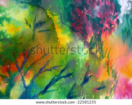 Colorful watercolor painting 1 - stock photo