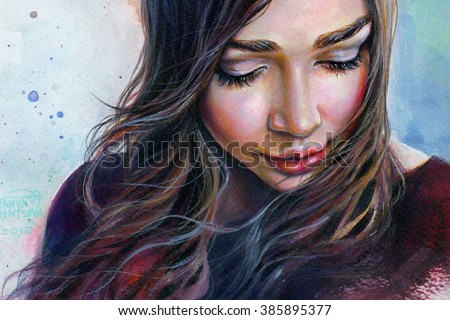 Colorful watercolor painting of a young beautiful girl with long hair looking down sad smiling on the sky background.  - stock photo