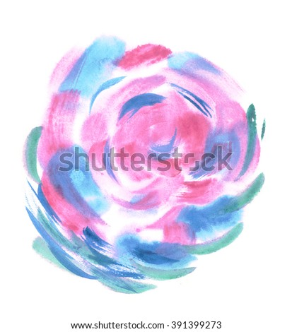 Colorful watercolor sphere. Painted design elements. Bud. Blue wet hand painted round blotch circle. Abstract painting. Blue, cyan, emerald, pink and magenta paint. - stock photo