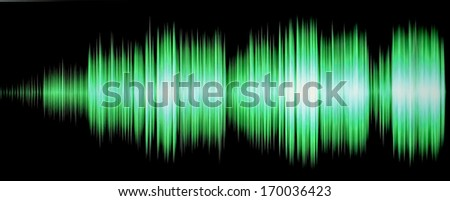 colorful waveform isolated on black, green  - stock photo