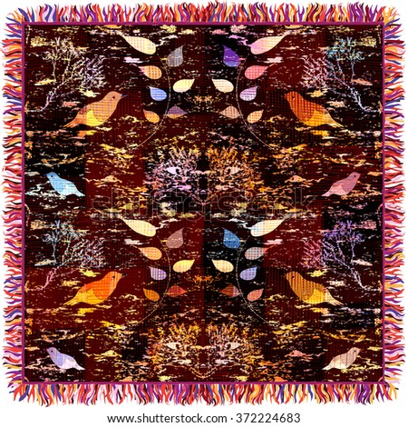 Colorful weave tapestry with floral pattern, birds and fringe isolated on white - stock photo