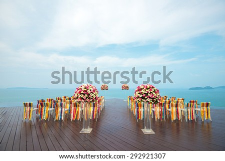 Colorful Wedding Set up with beautiful seaview - stock photo
