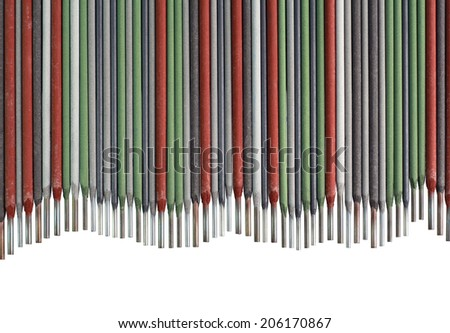 Colorful Welding Sticks Electrodes Wave Background - stock photo