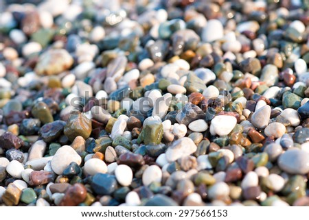 Colorful, wet pebbles on the sea beach. - stock photo