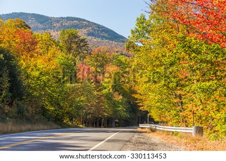 Colorful White mountain National forest in autumn, New  Hampshire. - stock photo