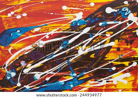 Colorful white red yellow orange blue black abstract vivid expressionist painting - stock photo