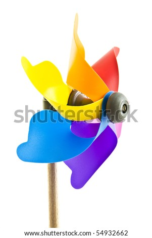 Colorful windmill isolated on a white background - stock photo