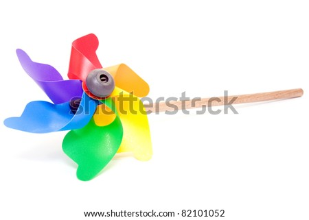 Colorful windmill Isolated on a White background. - stock photo