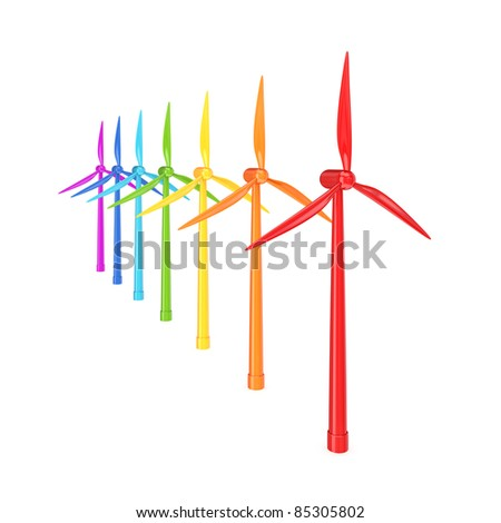 Colorful windmills.3d rendered.Isolated on white background. - stock photo