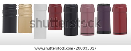 Colorful wine caps. Isolated on white background. (with PS paths) - stock photo