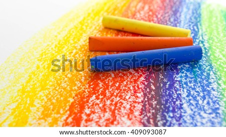 Colorful with Crayon background - stock photo