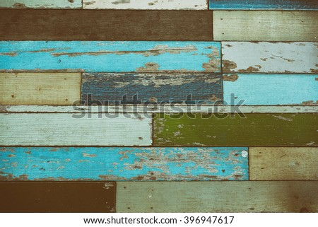 Colorful with old wood background and texture in retro color tone - stock photo