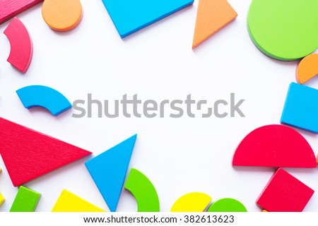 Colorful wood block toy on white background. Creativity toys.Wooden building blocks - stock photo