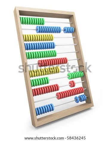 Colorful wooden abacus; 3D rendered image. - stock photo