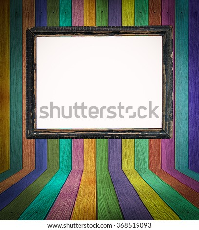 Colorful wooden background with vintage frame on white background. - stock photo