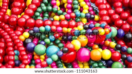 colorful wooden beads at the fair - stock photo