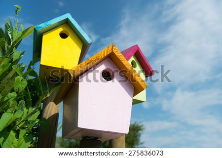 Colorful wooden birdhouses outdoor - stock photo