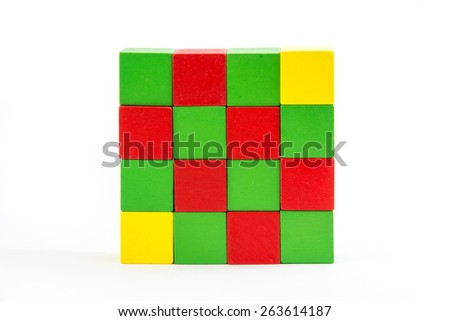 Colorful wooden blocks Arranged by the imagination. - stock photo