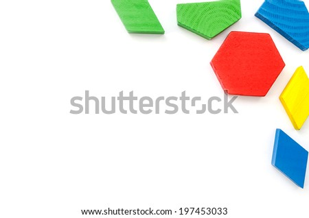 colorful wooden blocks isolated on white background. - stock photo