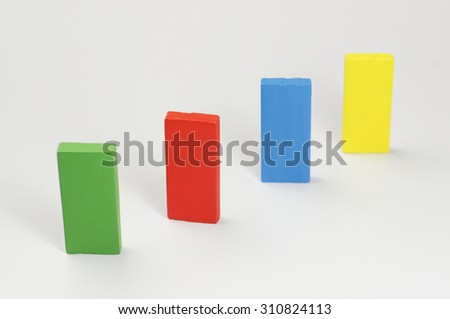 Colorful Wooden Blocks isolated on white background - stock photo