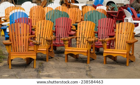 Colorful wooden chairs - stock photo