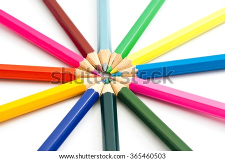 colorful wooden pencils closeup on white background  - stock photo