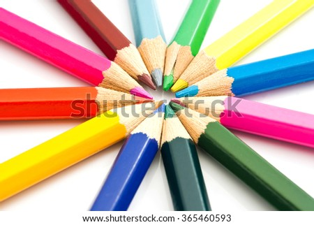 colorful wooden pencils on white background closeup - stock photo
